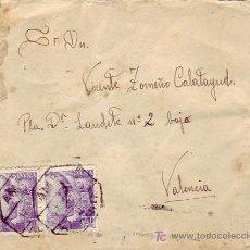 Sellos: MATASELLOS AMB. 7 ALICANTE EN CARTA CIRCULADA DE ALICANTE A VALENCIA. FRANQUEO GENERAL FRANCO.. Lote 24435822