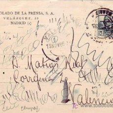 Sellos: VARIEDAD 15 CTS CONCEPCION ARENAL EN TARJETA COMERCIAL CIRCULADA 1935 MADRID-VALENCIA. RARA. MPM.. Lote 5770887