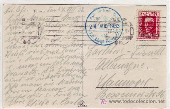 MARRUECOS ESPAÑOL: MARCA TINTA AZUL BARCO ALEMAN EN TARJETA CIRCULADA 1933 DE TETUAN A HANNOVER. (Sellos - Historia Postal - Sello Español - Sobres Circulados)
