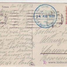 Sellos: MARRUECOS ESPAÑOL: MARCA TINTA AZUL BARCO ALEMAN EN TARJETA CIRCULADA 1933 DE TETUAN A HANNOVER.. Lote 22625297