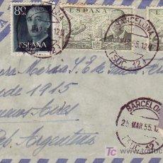 Sellos: GENERAL FRANCO Y DE LA CIERVA EN CARTA CIRCULADA 1955 BARCELONA A ARGENTINA.. MATASELLOS LLEGADA MPM. Lote 6152505