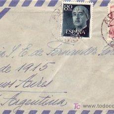 Sellos: GENERAL FRANCO DOS EMISIONES EN CARTA CIRCULADA 1955 CORUÑA-ARGENTINA MATASELLOS AVION. LLEGADA. MPM. Lote 6198307
