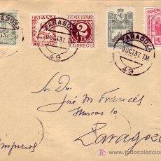 Sellos: PRO AVION Y FRANQUEO MULTICOLOR EN CARTA CIRCULADA 1937 ZARAGOZA INTERIOR. LLEGADA AL DORSO. RARA. . Lote 22625302