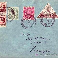 Sellos: BONITO Y RARO FRANQUEO (CARIDAD, HUERFANOS, ETC) EN CARTA CIRCULADA 1937 GRANADA A ZARAGOZA. LLEGADA. Lote 22625303