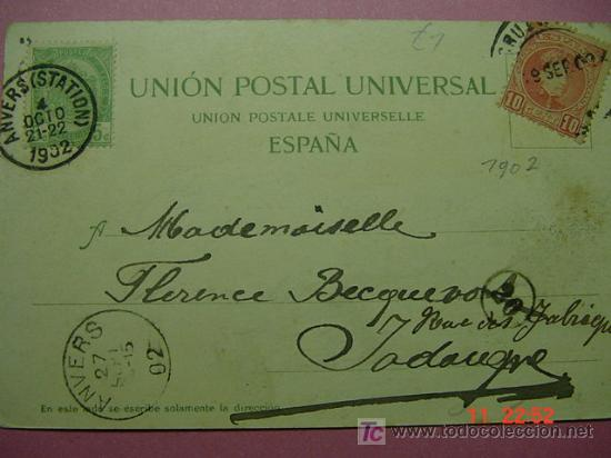 8274 ESPAÑA POSTAL TENERIFE CON DOBLE FRANQUEO BELGICA Y ESPAÑA AÑO 1902 - MAS EN COSAS&CURIOSAS (Sellos - Historia Postal - Sello Español - Sobres Circulados)