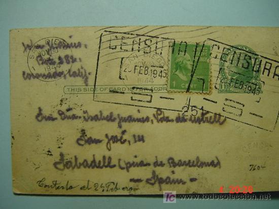 4424 RARISIMA CENSURA ESPAÑA SEGUNDA GUERRA MUNDIAL SAN DIEGO USA SABADELL - MAS COSAS&CURIOSAS (Sellos - Historia Postal - Sello Español - Sobres Circulados)