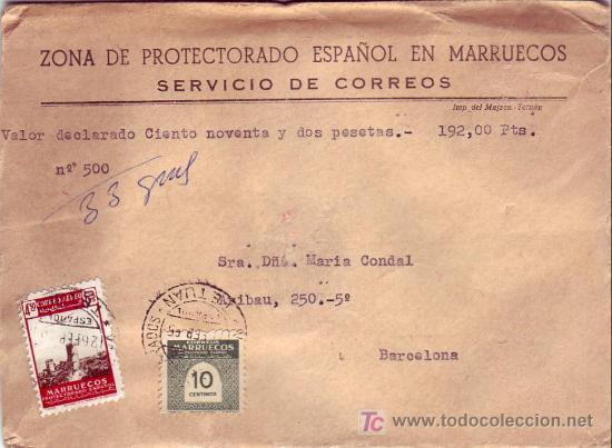 MARRUECOS ESPAÑOL: VALORES DECLARADOS 192 PESETAS EN CARTA CIRCULADA 1955 DE TETUAN A BARCELONA. (Sellos - Historia Postal - Sello Español - Sobres Circulados)