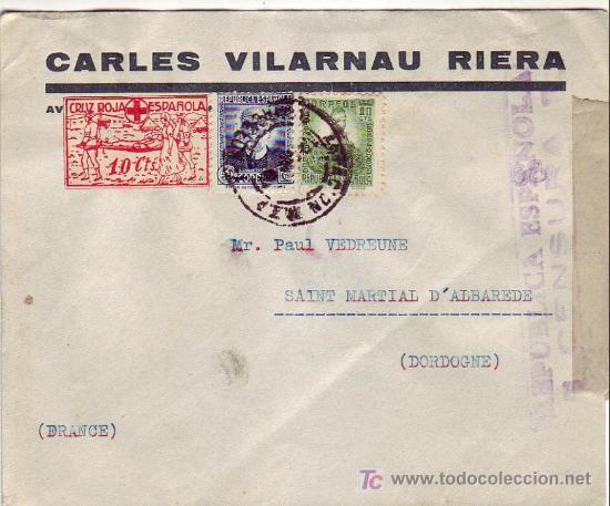 VIÑETA CRUZ ROJA EN CARTA CIRCULADA 1937 DE BARCELONA A FRANCIA. MATASELLOS ESTACION MZA. RARA ASI (Sellos - Historia Postal - Sello Español - Sobres Circulados)