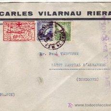 Sellos: VIÑETA CRUZ ROJA EN CARTA CIRCULADA 1937 DE BARCELONA A FRANCIA. MATASELLOS ESTACION MZA. RARA ASI. Lote 23132543