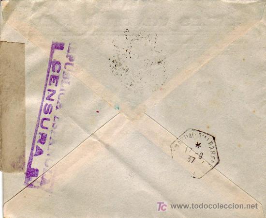 Sellos: VIÑETA CRUZ ROJA EN CARTA CIRCULADA 1937 DE BARCELONA A FRANCIA. MATASELLOS ESTACION MZA. RARA ASI - Foto 2 - 23132543