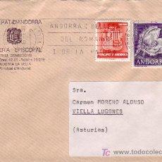 Sellos: ANDORRA ESPAÑOLA: CARTA CIRCULADA 1984 DE ANDORRA LA VELLA A VIELLA LUGONES (ASTURIAS) RODILLO PUBL. Lote 25486165