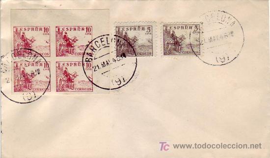BLOQUE DE CUATRO SIN DENTAR 10 CTS EL CID EN SOBRE BARCELONA 1948. BONITO Y MUY RARO ASI. (Sellos - Historia Postal - Sello Español - Sobres Circulados)