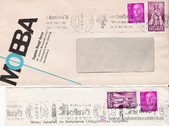 IBERFLORA (Sellos - Historia Postal - Sello Español - Sobres Circulados)
