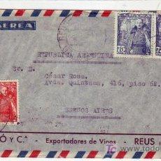 Sellos: GENERAL FRANCO BICOLOR EN CARTA COMERCIAL (F SIMO Y CIA) CIRCULADA 1951 DE REUS A BUENOS AIRES. MPM.. Lote 7082211