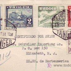 Sellos: RARO FRANQUEO 10 PTS AVIONES TANGER MARRUECOS ESPAÑOL EN CARTA CORREO AEREO CERTIFICADO 1951 LLEGADA. Lote 22939777