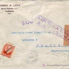 Sellos: TANGER: MARRUECOS ESPAÑOL. CARTA CIRCULADA 1938 A CHECOSLOVAQUIA. CENSURA. GRAN FRANQUEO DORSO. RARA. Lote 22910407