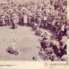 Sellos: TANGER: MARRUECOS ESPAÑOL: FIESTA DE LOS AISSAGUAS EN RARA TARJETA POSTAL CIRCULADA 1906 A PORTUGAL.. Lote 23267132