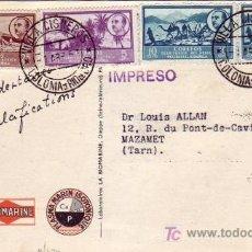 Sellos: COLONIA RIO DE ORO BONITA TARJETA COMERCIAL CIRCULADA 1953 DE VILLACISNEROS A FRANCIA. RARA.. Lote 23578796