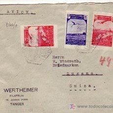 Sellos: TANGER: MARRUECOS ESPAÑOL. CARTA 1942 CORREO AEREO A SUIZA. CENSURAS ESPAÑOLA Y ALEMANA. TRANSITO.. Lote 22910411