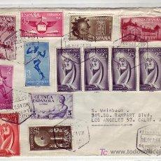 Timbres: GUINEA RARO MATASELLOS AEROPUERTO SANTA ISABEL EN CARTA 1964 FERNANDO POO-USA. ESPECTACULAR FRANQUEO. Lote 23559155