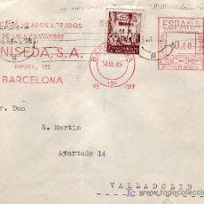 Sellos: AYUNTAMIENTO BARCELONA EN CARTA CIRCULADA 1945 A VALLADOLID RARO FRANQUEO MECANICO LANISEDA. LLEGADA. Lote 24743637