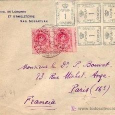 Sellos: VARIEDAD DENTADO VERTICAL DESPLAZADO ALFONSO XIII EN CARTA 1921 DE SAN SEBASTIAN A PARIS. LLEGADA.. Lote 25322102