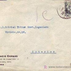 Sellos: REPUBLICA ESPAÑOLA: SELLO PERFORACION CORUJO EN CARTA CIRCULADA 1935 MADRID INTERIOR. LLEGADA. RARA.. Lote 22939768