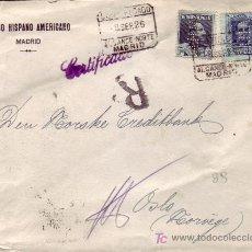 Sellos: DOS SELLOS PERFORACION BANCO HISPANO AMERICANO EN CARTA CERTIFICADA 1925 A NORUEGA. LLEGADA.. Lote 22939774