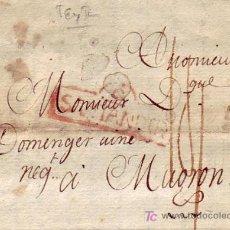 Sellos: CARTA COMPLETA CIRCULADA EN 1797 DE SANTANDER A FRANCIA, CON RARAS MARCAS EN TINTA ROJA.. Lote 23520513