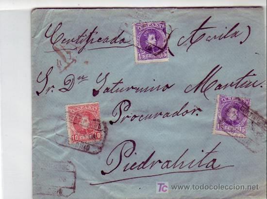 ALFONSO XIII CADETE EN CARTA 1908 CORREO CERTIFICADO MADRID-PIEDRAHITA (AVILA). TRANSITO Y LLEGADA. (Sellos - Historia Postal - Sello Español - Sobres Circulados)