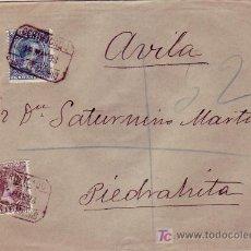 Sellos: 1898 RARO MATASELLOS AMBULANTE DESCENDENTE NORTE EN CARTA CERTIFICADA DE MADRID A PIEDRAHITA (AVILA). Lote 26805399