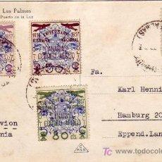 Sellos: EMISIONES LOCALES PATRIOTICAS CANARIAS 31/33 + ISABEL EN TARJETA CIRCULADA LAS PALMAS-ALEMANIA. RARA. Lote 22708461