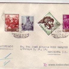 Sellos: CARTA CIRCULADA POR CORREO CERTIFICADO 1961 DE OVIEDO (ASTURIAS) A BARCELONA. BONITO FRANQUEO. MPM.. Lote 7318231