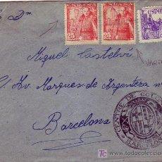 Sellos: VARIEDAD COLOR FRANCO Y CASTILLO DE LA MOTA EN CARTA CIRCULADA DE SOSES (LERIDA) A BARCELONA. MPM.. Lote 7375493