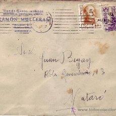 Sellos: MATASELLOS MUDO NUEVE LINEAS CARTA COMERCIAL (RAMON MULLERAS) CIRCULADA 1949 BARCELONA-MATARO. MPM.. Lote 7375514