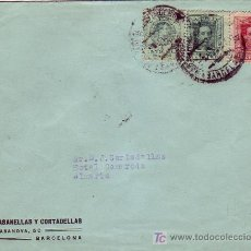 Sellos: CARTA (CASANELLAS Y CORTADELLAS) BARCELONA-ALMERIA. MATASELLOS POCO LEGIBLE APEADERO PASEO DE GRACIA. Lote 24786930