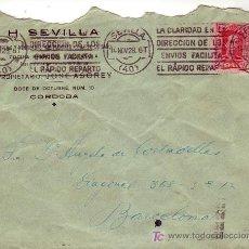 Sellos: CARTA COMERCIAL H SEVILLA JOSE ASOREY CIRCULADA 1928 SEVILLA-BARCELONA. RODILLO PUBLICITARIO. MPM.. Lote 7387296