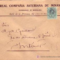 Sellos: CARTA COMERCIAL (REAL COMPAÑIA ASTURIANA DE MINAS) CIRCULADA 1915 BARCELONA INTERIOR. MPM.. Lote 7405804