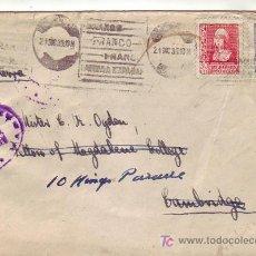 Sellos: ISABEL LA CATOLICA BICOLOR CARTA 1939 MADRID-CAMBRIDGE. RODILLO PATRIOTICO. DOBLE CENSURA. LLEGADA.. Lote 7455564