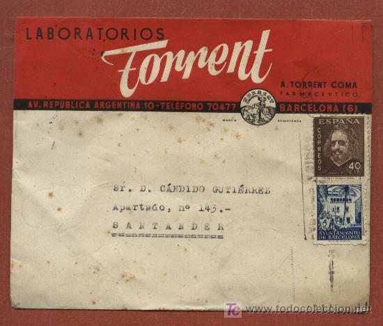 SOBRE CON PUBLICIDAD DE LABORATORIOS TORRENT DE BARCELONA. FARMACIA. CON SELLO AYTO. BARCELONA (Sellos - Historia Postal - Sello Español - Sobres Circulados)