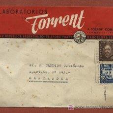 Sellos: SOBRE CON PUBLICIDAD DE LABORATORIOS TORRENT DE BARCELONA. FARMACIA. CON SELLO AYTO. BARCELONA. Lote 22786772