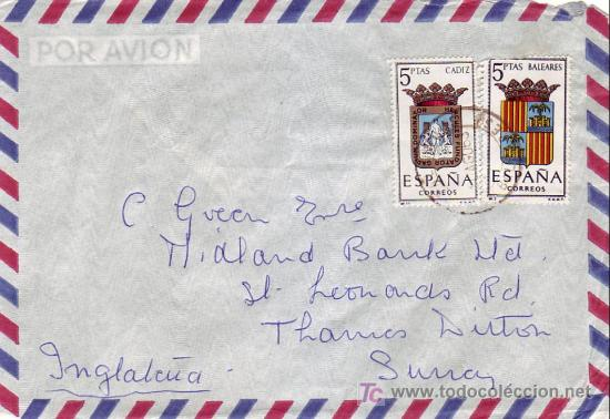 ESCUDOS DE BALEARES Y DE CADIZ EN CARTA CIRCULADA 1963 DE PORTALS NOUS (BALEARES) A INGLATERRA. MPM. (Sellos - Historia Postal - Sello Español - Sobres Circulados)