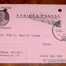 Sellos: ANTIGUA TARJETA POSTAL PATRIOTICA, FRANCO, GUERRA CIVIL - CIRCULADA EN 1937 CON SELLO DE CENSURA MI. Lote 13868382