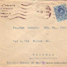 Sellos: MATASELLOS MUDO CARTA COMERCIAL (JOSE J YÑESTA) CIRCULADA 1918 MADRID-CHICAGO (ESTADOS UNIDOS). MPM.. Lote 7582509