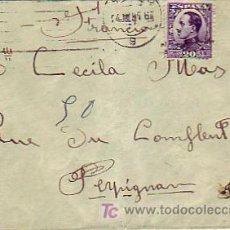 Sellos: ALFONSO XIII VAQUER DE PERFIL EN CARTA CIRCULADA 1931 BARCELONA-PERPIGNAN (FRANCIA) RODILLO MUDO MPM. Lote 7750434