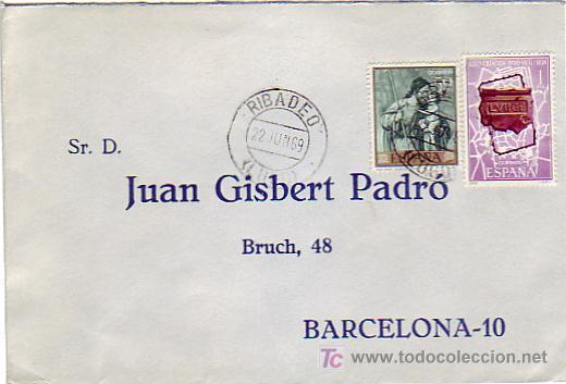 CARTA COMERCIAL CIRCULADA 1969 DE RIBADEO (LUGO) A BARCELONA. (Sellos - Historia Postal - Sello Español - Sobres Circulados)