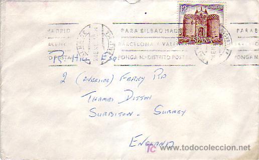 MATASELLOS RODILLO (PARA BILBAO.) CARTA CIRCULADA 1979 PALMA DE MALLORCA (BALEARES)-INGLATERRA. MPM. (Sellos - Historia Postal - Sello Español - Sobres Circulados)