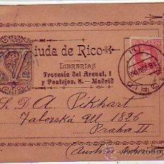 Sellos: VIUDA DE RICO LIBRERIAS: RARA TARJETA COMERCIAL CIRCULADA 1902 MADRID-PRAGA (AUSTRIA-BOHEMIA). Lote 22939771