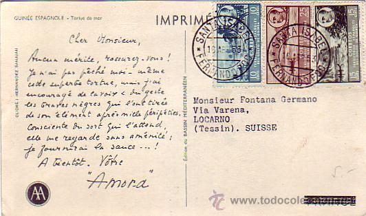 FERNANDO POO: FRANCO TRICOLOR EN TARJETA COMERCIAL CIRCULADA 1953 DE SANTA ISABEL A SUIZA. (Sellos - Historia Postal - Sello Español - Sobres Circulados)