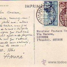Sellos: FERNANDO POO: FRANCO TRICOLOR EN TARJETA COMERCIAL CIRCULADA 1953 DE SANTA ISABEL A SUIZA.. Lote 22752561